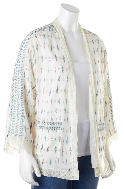 JOIE White Pink Green Geometric Silk Lace Trim Open Cardigan