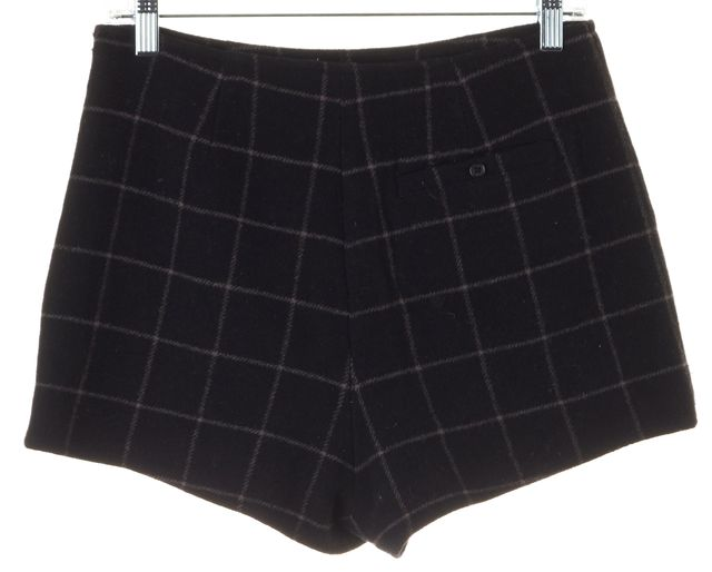 JOIE Black Check Flanneled Wool High Rise Dress Short Shorts