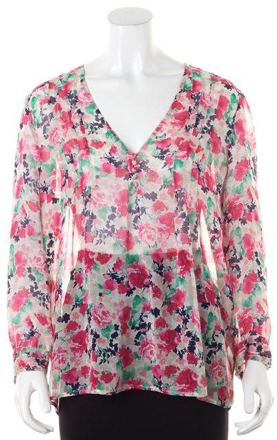 JOIE Pink Floral Semi Sheer Silk Blouse
