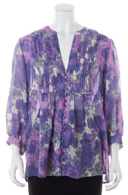 JOIE Purple Gray Abstract Semi Sheer Silk Blouse