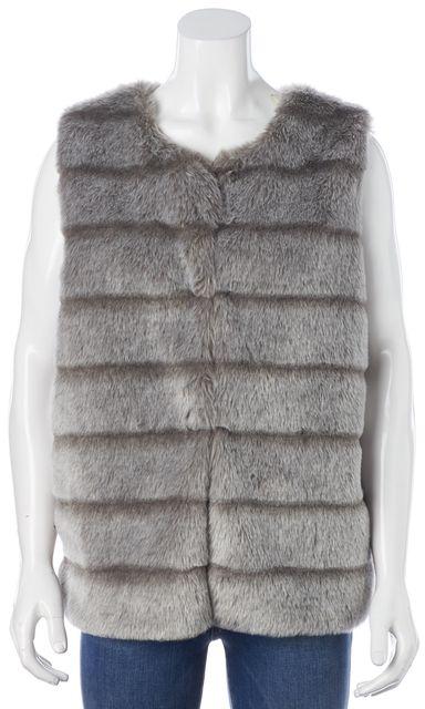 JOIE Gray Striped Faux Fur Hook & Eye Andrina Vest