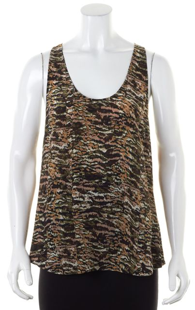 JOIE Brown Multi Silk Abstract Sleeveless Racerback Tank Top Blouse