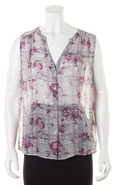 JOIE Pink Gray Floral Silk Sleeveless Button Front Sheer Blouse