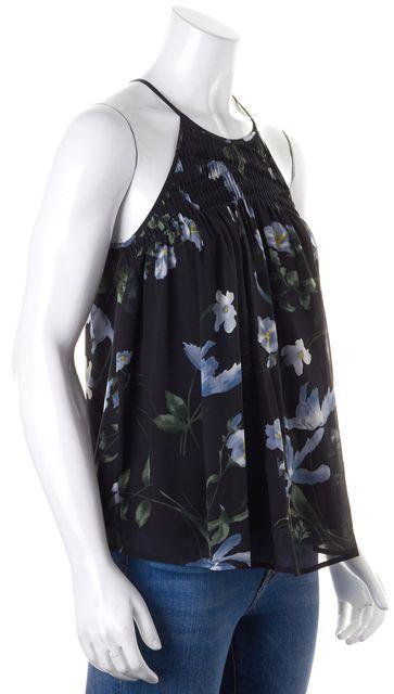 JOIE Black Blue Green Floral Print Silk High Neck Tank Top