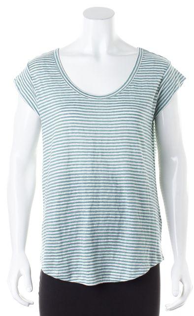 JOIE Teal Blue White Striped Linen Cap Sleeve Basic T-Shirt
