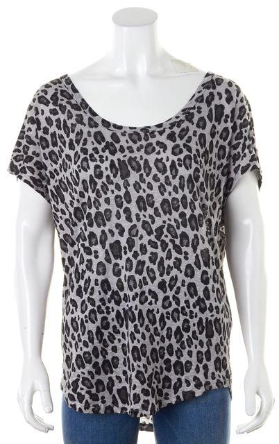 JOIE Gray Black Leopard Print Linen Basic Oversized T-Shirt
