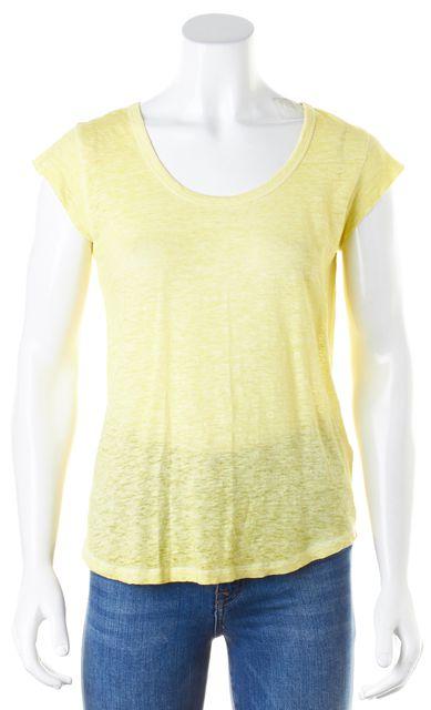 JOIE Yellow Linen Cap Sleeve Crewneck Basic T-Shirt