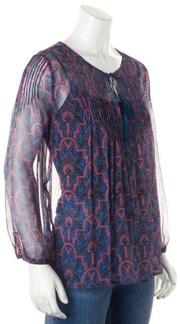 JOIE Blue Purple Paisley Long Sleeve Keyhole Front Sheer Blouse