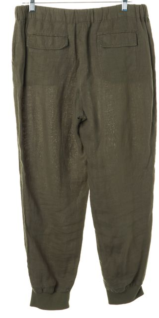 JOIE Army Green Linen Drawstring Casual Jogger Pants