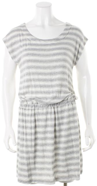 JOIE Gray White Striped Cap Sleeve Above Knee Blouson Dress