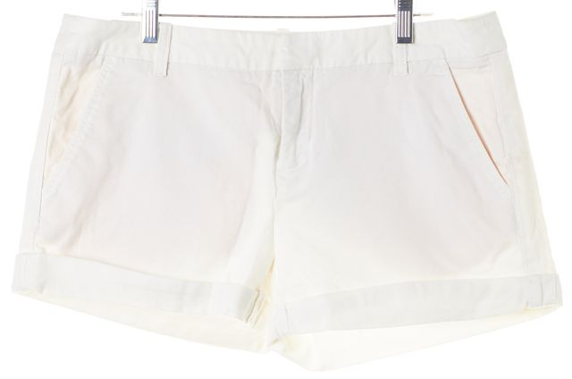 JOIE White Stretch Cotton Cuffed Casual Shorts