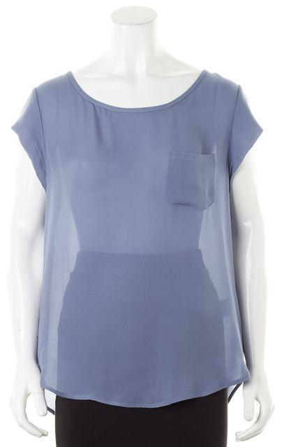 JOIE Periwinkle Blue Silk Cap Sleeve Sheer Blouse