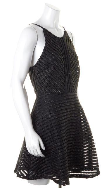 JOIE Black Gold Metallic Glitter Perforated Sleeveless Fit & Flare Dress