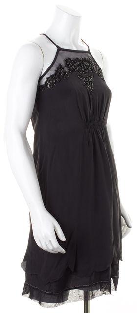 JOIE Black Bead Lace Embellished Spaghetti Strap Slip Sheath Dress