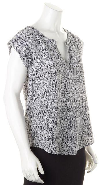 JOIE Gray Black Ornate Silk Blouse Top