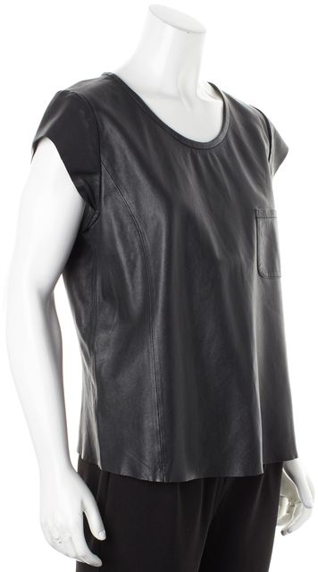 JOIE Black Leather Cap Sleeve Boxy Rancher Blouse