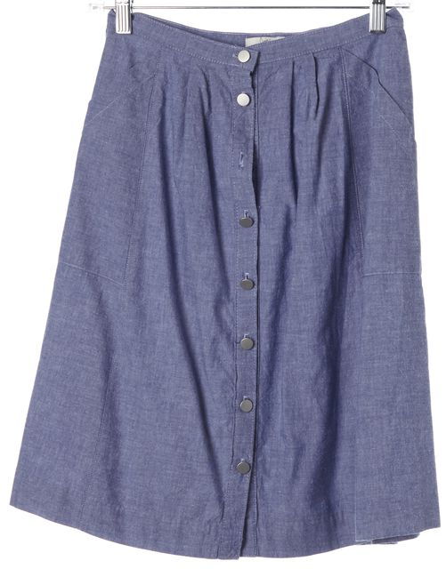 JOIE Blue Cotton Chambray Button Front A-Line Skirt