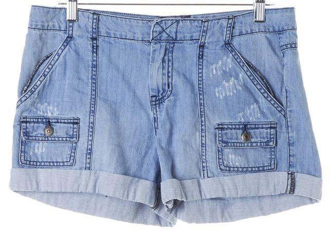 JOIE Blue Light Wash Distressed Denim Rolled Cuffed Shorts