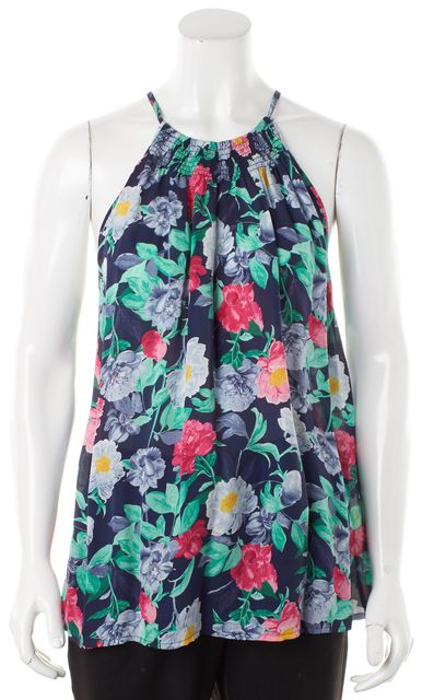JOIE Blue Green Pink Floral Silk Halter Style Blouse
