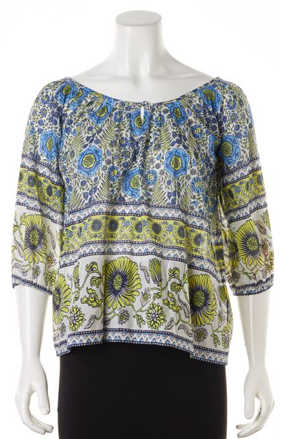 JOIE White Acid Lime Green Floral Nancy Blouse Top