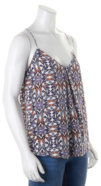 JOIE White Multi-Color Silk Butterfly Print Cami Blouse