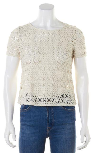 JOIE Ivory Crochet Knit Top