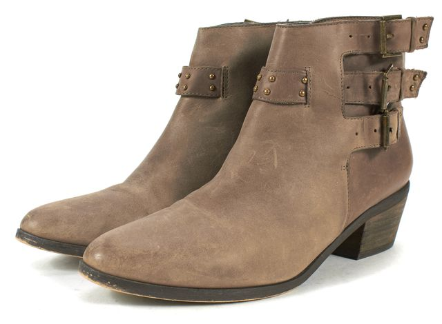 JOIE Brown Leather Buckle Block Heeled Ankle Boots