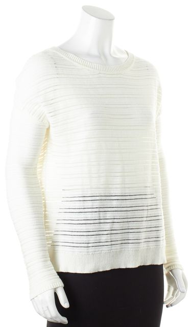 JOIE Ivory Sheer Mesh Panel Striped Long Sleeve Cotton Knit Top