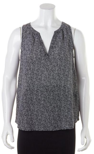 JOIE Black Gray Abstract Polka Dot Print Silk Sleeveless Blouse
