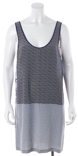 JOIE Blue Floral Geometric Silk Reversible Tank Shift Dress