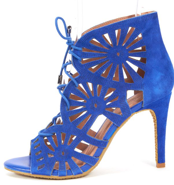 JOIE Electric Blue Laser Cut Suede Lace-Up Paxton Bootie Heels
