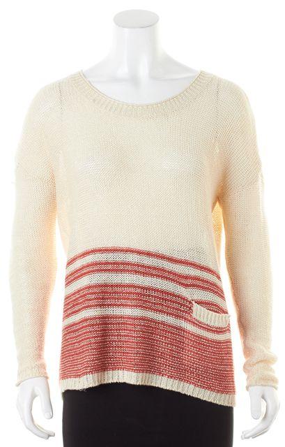 JOIE Ivory Orange Striped Linen Pocket Front Crewneck Sweater