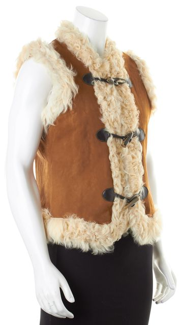 JOIE Brown Ivory Sheepskin Shearling Lined Toggle Vest