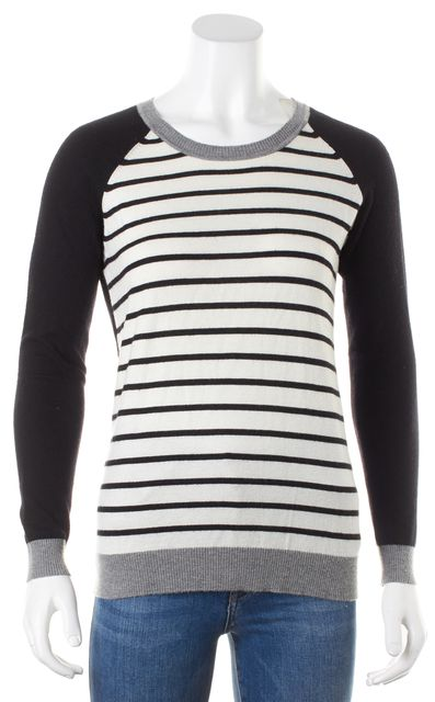 JOIE Black White Gray Striped Long Sleeve Crewneck Knit Top