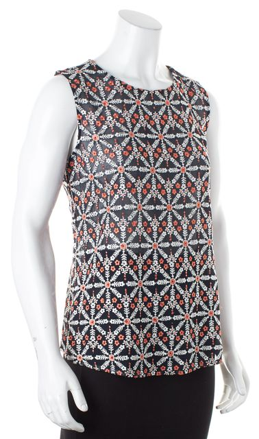 JOIE Navy Blue Pink Floral Embroidered Sleeveless Sheer Blouse Top