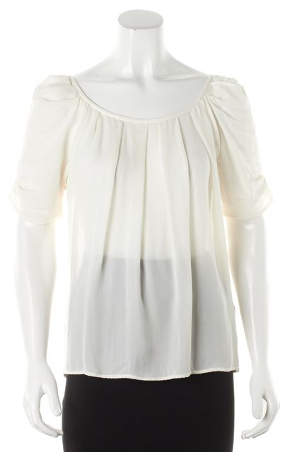 JOIE Ivory Silk Pleated Short Sleeve Blouse