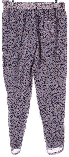 JOIE Purple Pink Floral Silk Elastic Waist Casual Pants