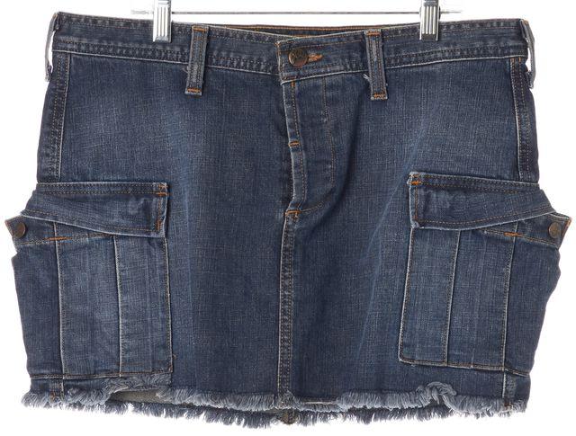 JOIE Blue Medium Wash Denim Pocket Front Mini Straight Skirt