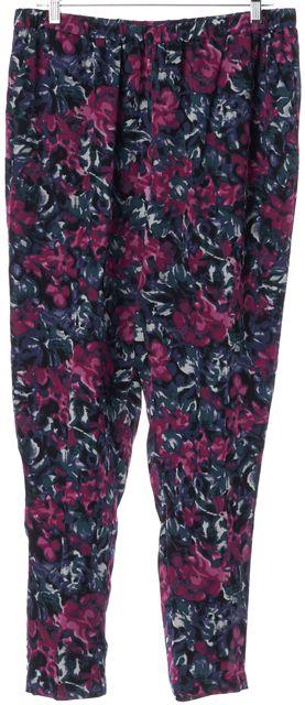 JOIE Blue Pink Green Floral Silk Elastic Waist Casual Pants