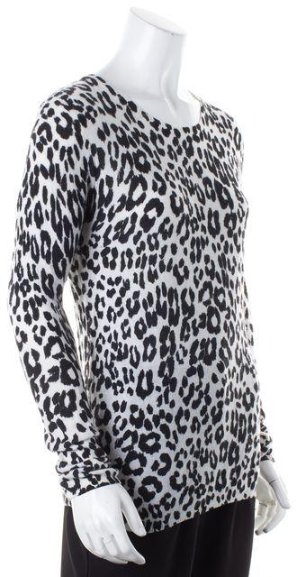 JOIE Gray Black Leopard Print Cashmere Crewneck Sweater