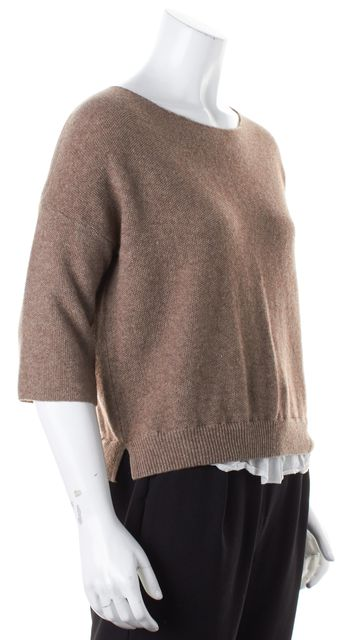 JOIE Brown White Wool Cashmere Layered Crewneck Sweater