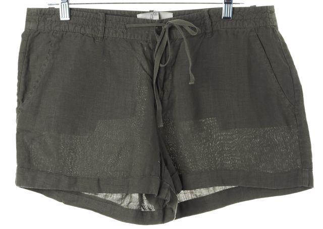 JOIE Green Linen Drawstring Waist Casual Shorts