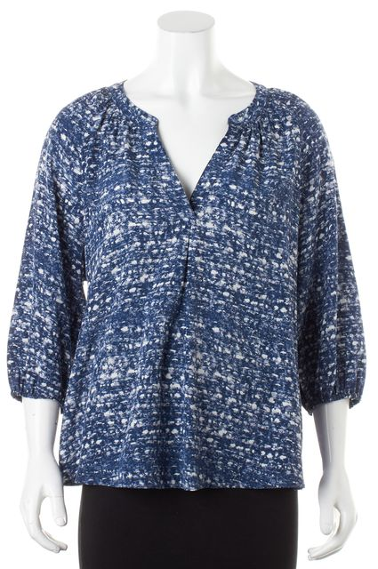 JOIE Blue White Silk Abstract 3/4 Sleeve Blouse
