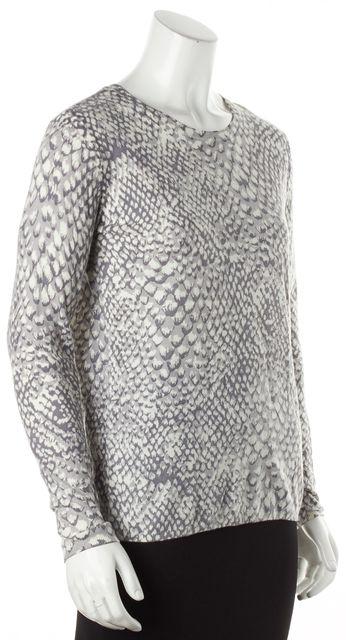 JOIE Gray White Snakeskin Print Crewneck Knit Sweater