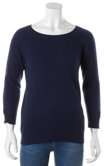 JOIE Navy Blue Cashmere Leather Elbow Patch Crewneck Sweater