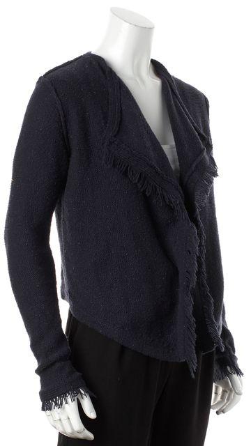 JOIE Blue Speckled Knit Fringe Trim Long Sleeve Cardigan