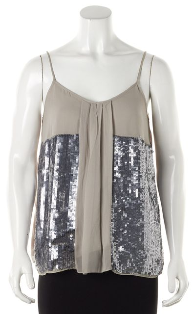 JOIE Gray Silk Sequined Tank Top