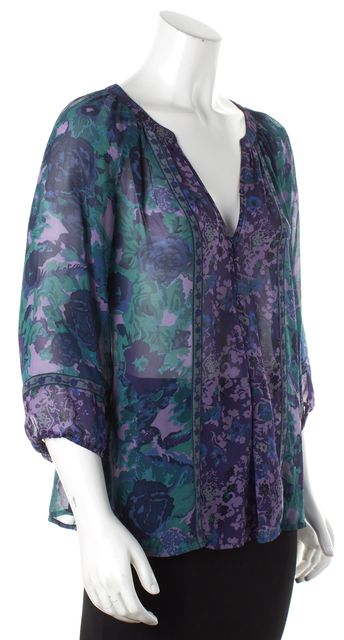JOIE Purple Green Blue Abstract Silk Sheer V-Neck Blouse