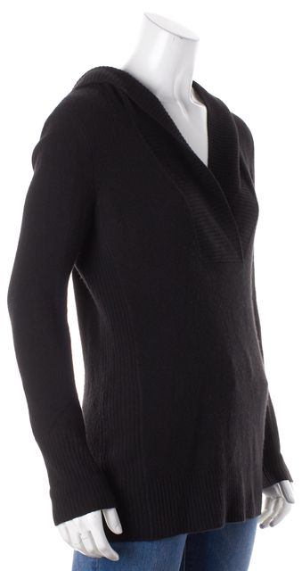 JOIE Black Fold-Over Long-Sleeve Hooded Sweater