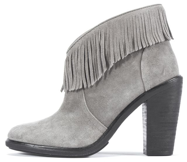 JOIE Gray Suede Leather Fringe Detail Ankle Boot Boots Size US 5 EUR 35